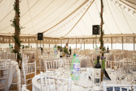 Marquee inside table and chairs