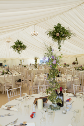 Tents marquee inside table and chairs