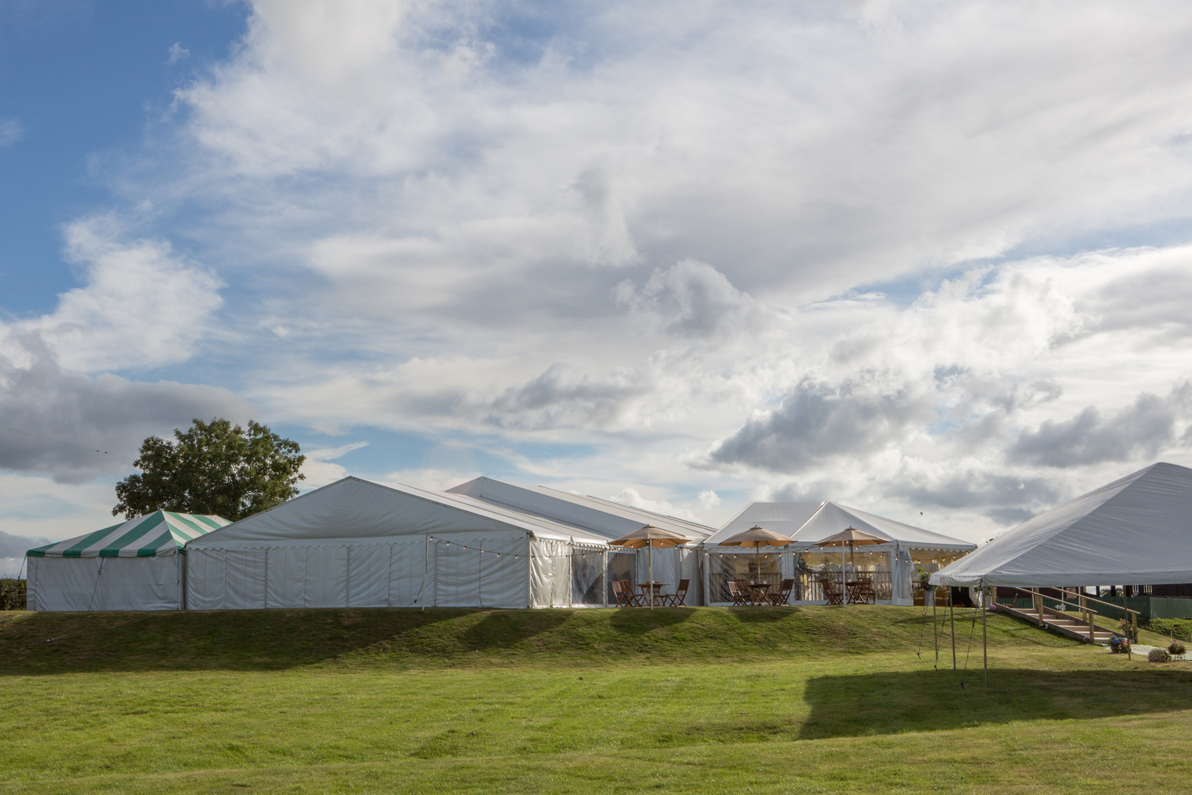 Tents and Large marquees in the sun