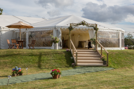 Tents & Marquees entrance wooden stairs & umbrella