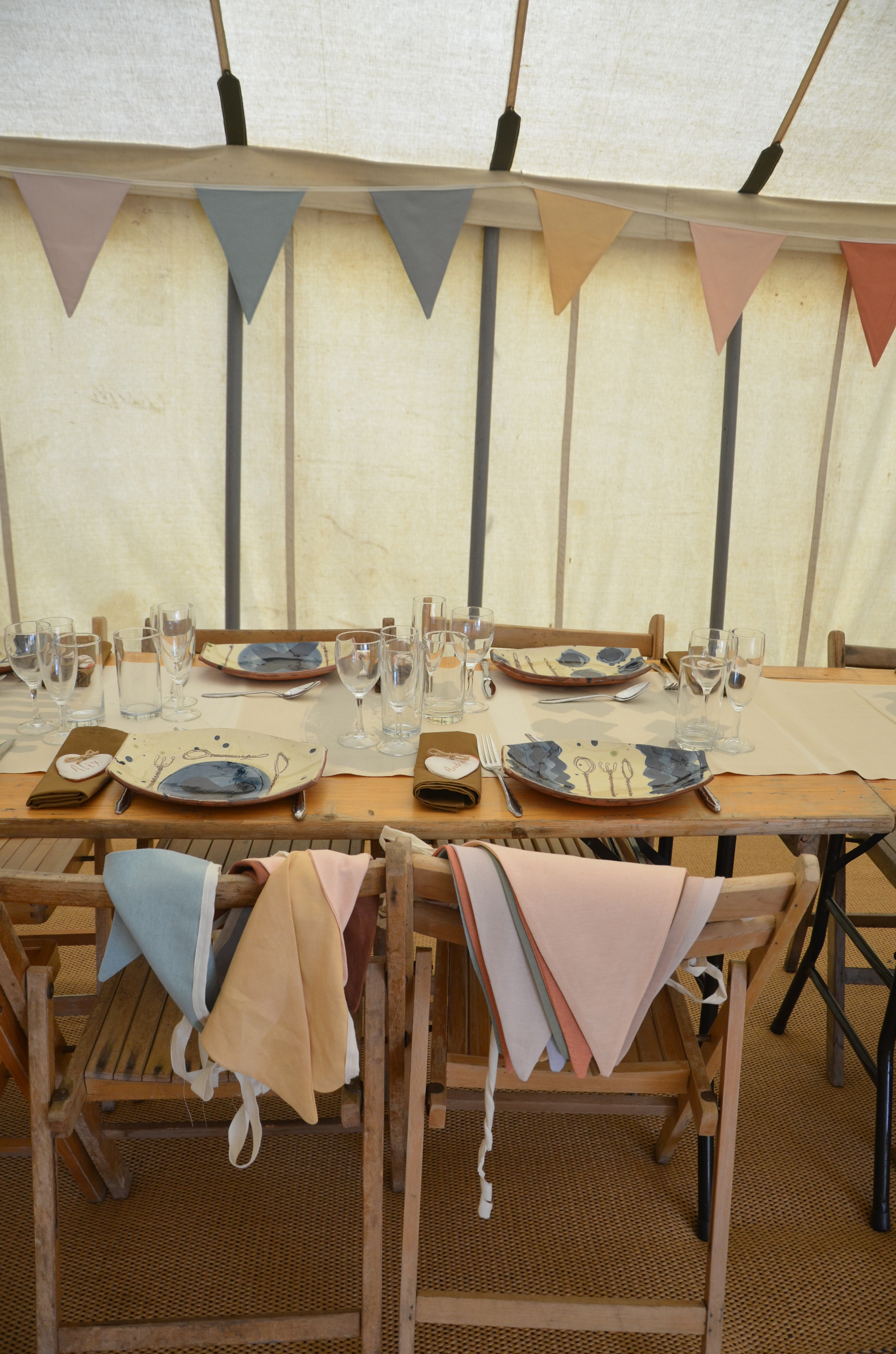 Tents and marquee – bunting – table and chairs